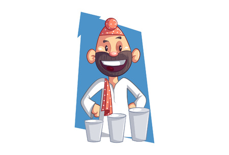 Vector cartoon Illustration of Punjabi sardar with three buttermilk glass. Isolated on white background.