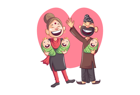Vector cartoon illustration of Punjabi sardar with wife and three babies. Isolated on white background.