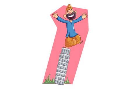 Vector cartoon illustration of Punjabi sardar on The Leaning Tower of Pisa. Isolated on white background.