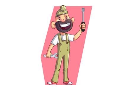 Vector cartoon illustration of Punjabi sardar wearing uniform.Punjabi Sardar  holding wrench and screwdriver in hand. Isolated on white background.  イラスト・ベクター素材