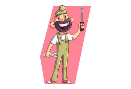 Vector cartoon illustration of Punjabi sardar wearing uniform.Punjabi Sardar  holding wrench and screwdriver in hand. Isolated on white background.  イラスト・ベクター素材