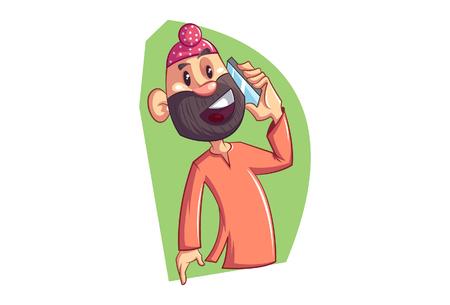 Vector cartoon illustration of Punjabi sardar talking on phone. Isolated on white background.