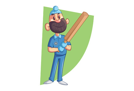 Vector cartoon illustration of Punjabi sardar ready to play cricket with bat. Isolated on white background.