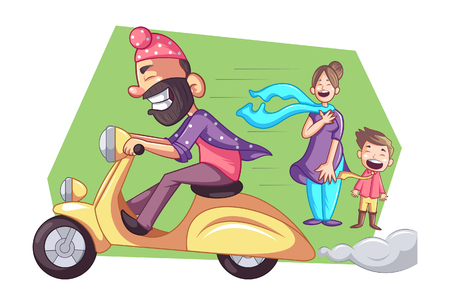 Vector cartoon illustration of Punjabi sardar is driving fast scooter.Woman with child standing on  road  and his scarf is flying in wind. Isolated on white background.