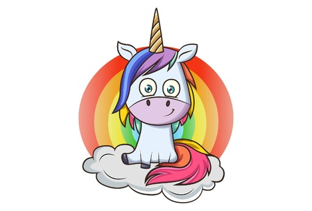 Vector cartoon illustration of colorful unicorn. Isolated on white background.
