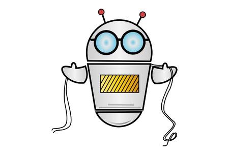 Ilustración de dibujos animados de vector de Robot con cuerda en mano. Aislado sobre fondo blanco.