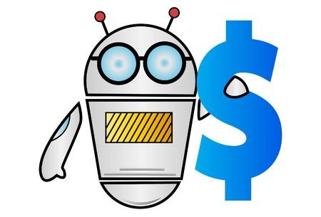 Ilustración de dibujos animados de vector de Robot con signo de dólar en la mano. Aislado sobre fondo blanco. Ilustración de vector