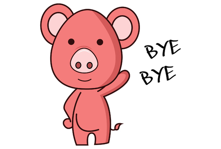 Vector cartoon illustration of pig is saying bye bye. Isolated on white background. Stock Illustratie
