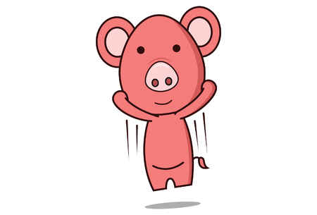 Vector cartoon illustration of pig is jumping. Isolated on white background.