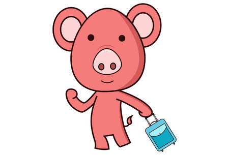 Vector cartoon illustration of pig with rolling luggage bag . Isolated on white background. Ilustração