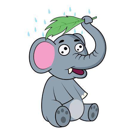 Vector cartoon illustration. Elephant is saving own in rain through leaf.