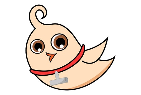 Vector cartoon illustration of cute bird wearing locket. Çizim