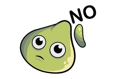 Cartoon illustration of cute dimsum saying no.