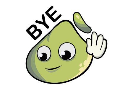 Ilustración de dibujos animados de lindo dimsum diciendo adiós.