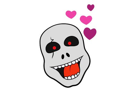 cartoon illustration of happy skull in love. Isolated on white background.