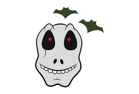 cartoon illustration of skull with bats. Isolated on white background.
