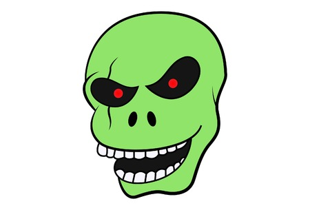 cartoon illustration of green skull. Isolated on white background. Vektorgrafik