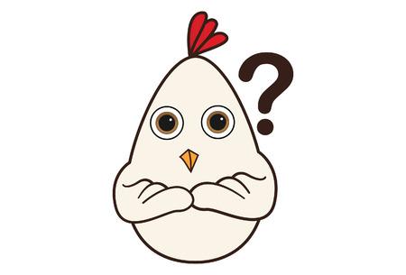 Vector cartoon illustration of cute hen confused.