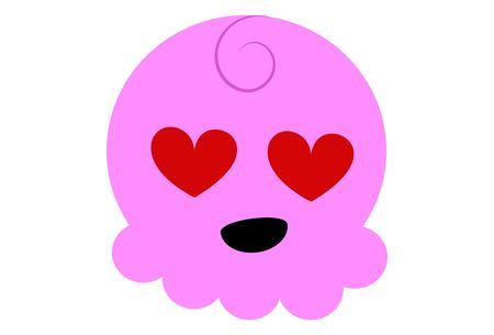 Vector Cartoon Cute Pink Face. Illustration