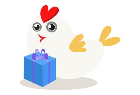 Vector cartoon illustration of cute sparrow with gift box. Isolated on white background.
