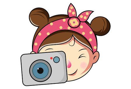 Cartoon Cute Girl Face With Camera .Vector Illustration. Vetores