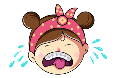 Cartoon Cute Girl Face Crying .Vector Illustration. Ilustração