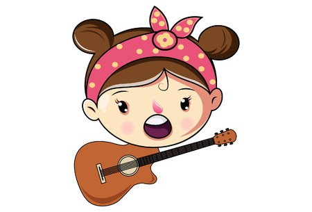 Cartoon Cute Girl Face With Guitar  .Vector Illustration. Ilustração