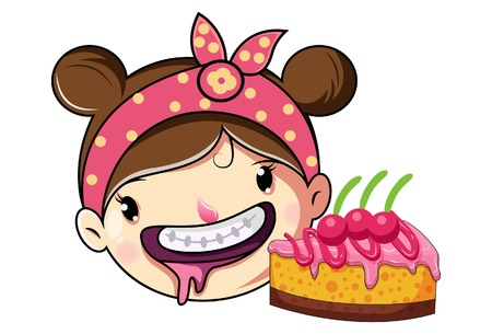 Cartoon Cute Girl Face With Pastry .Vector Illustration. Ilustração