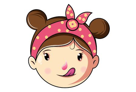 Cartoon Cute Girl Face Funny Expression. Vector Illustration.