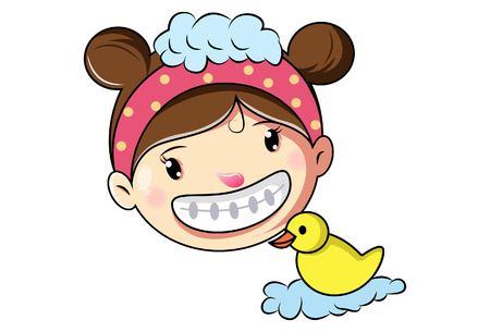 Cartoon Cute Girl Face .Vector Illustration.
