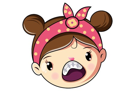 Cartoon Cute Girl Face Angry Expression .Vector Illustration. Illustration