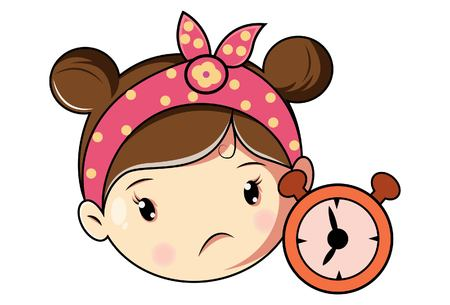 Cartoon Cute Girl Face With Alarm Clock . Vector Illustration. Ilustração