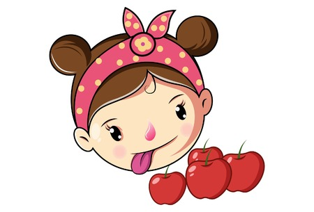 Cartoon Cute Girl Face With Apple .Vector Illustration.