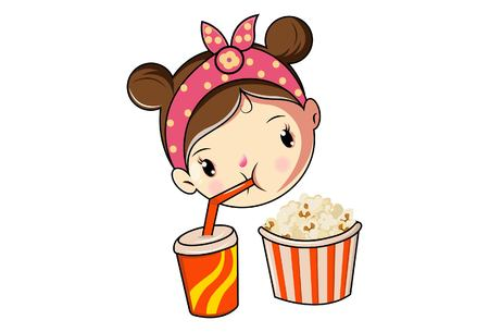 Cartoon Cute Girl Face Drinking Juice With Popcorn .Vector Illustration.