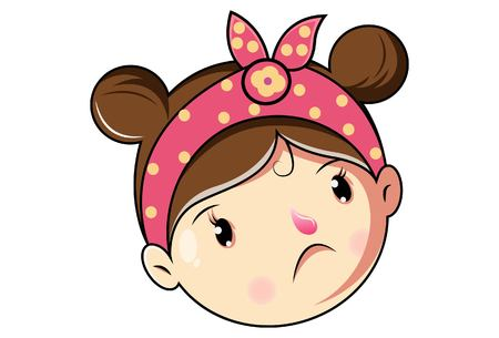 Cartoon Cute Girl Sad Face .Vector Illustration.