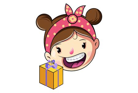 Cartoon Cute Girl Face With Gift Box.Vector Illustration.