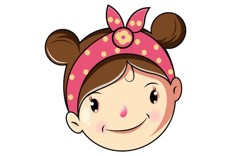 Cartoon Cute Girl Happy Face .Vector Illustration.