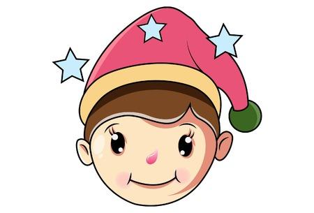 Cartoon Cute Girl Wearing Christmas Cap .Vector Illustration.