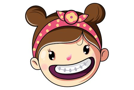 Cartoon Cute Girl Face Laughing .Vector Illustration.