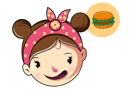 Cartoon Cute Girl Face Thinking For Burger .Vector Illustration.