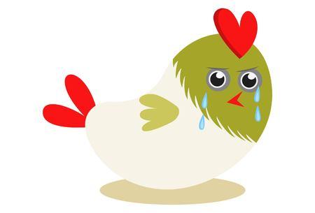 Vector cartoon illustration. Cute bird is crying. Ilustração