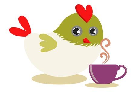 Vector cartoon illustration. Cute bird with cup of tea.