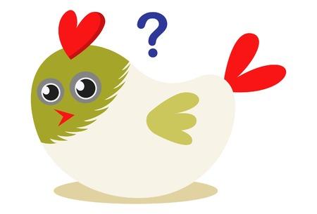 Vector cartoon illustration. Cute bird with question mark.
