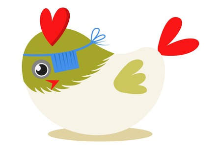Vector cartoon illustration. Cute bird is hiding his one eye with sleeping cover.