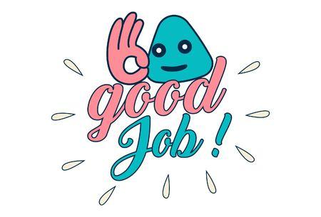 Vektor-Cartoon-Illustration. Guter Job-Textaufkleber. Vektorgrafik
