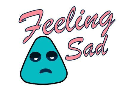 Lettering feeling sad. Vector illustration of cartoon sad face. Stock Illustratie