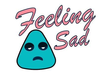 Lettering feeling sad. Vector illustration of cartoon sad face. Ilustrace