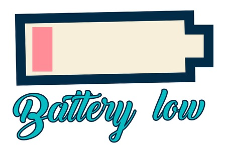 Lettering battery low.  Vector illustration of battery low icon.