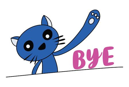 Vector cartoon illustration of blue cat waving hand saying bye. Lettering bye text.