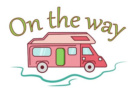 Vector cartoon illustration of bus. Lettering on the way. Illustration